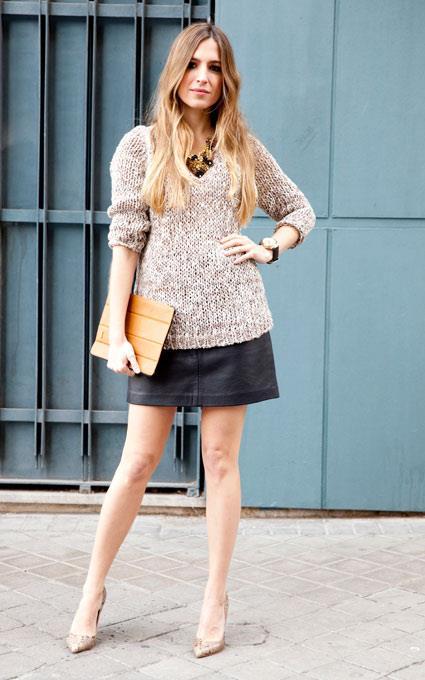 jersey brilli falda cuero