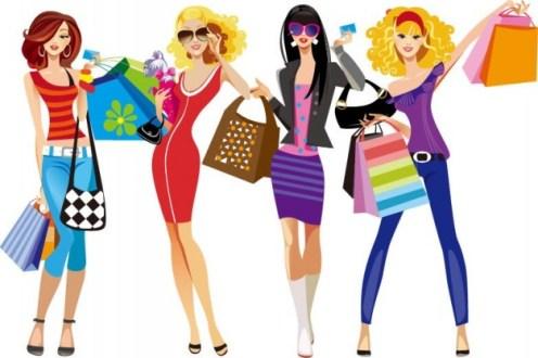 las-ninas-de-compras-ilustracion-vectorial_53-9614