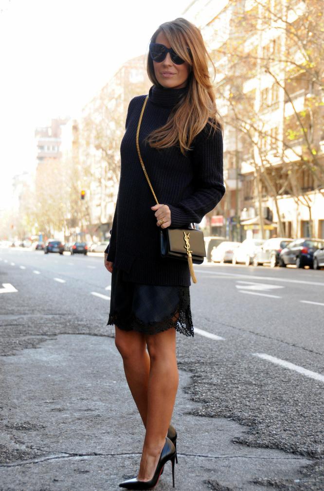 06-street style-knit-lace-dress-zara-so kate-louboutin-cassandre-saint laurent paris-ysl
