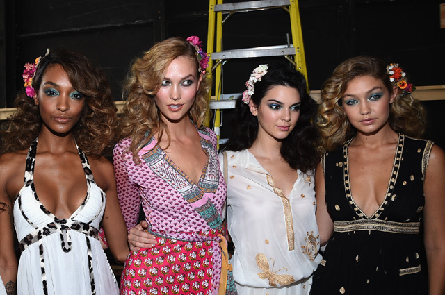 NEW YORK, NY - SEPTEMBER 13:  (L-R) Models Jourdan Dunn, Karlie Kloss, Kendall Jenner and Gigi Hadid pose backstage at the  Diane Von Furstenberg Spring 2016 fashion show during New York Fashion Week at Spring Studios on September 13, 2015 in New York City.  (Photo by Dimitrios Kambouris/Getty Images)